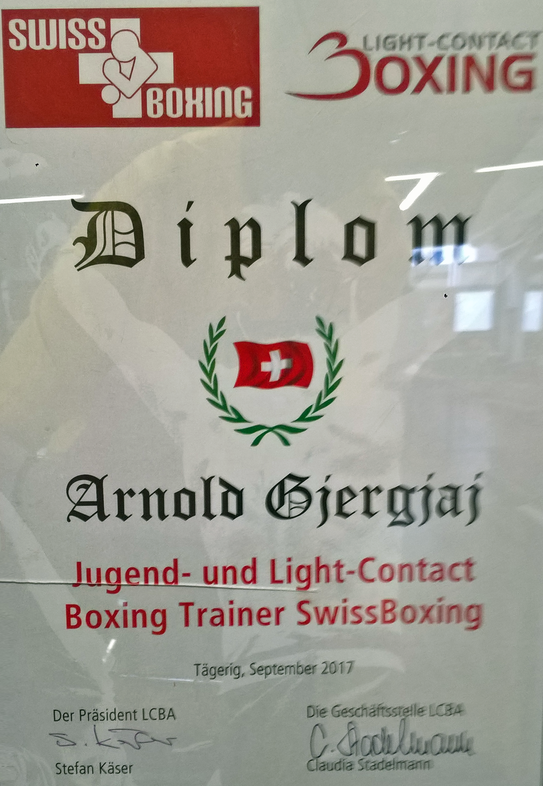 Arnold Gjergjaj Jugend- und Light-Contact Boxing Trainer SwissBoxing (09.2017)